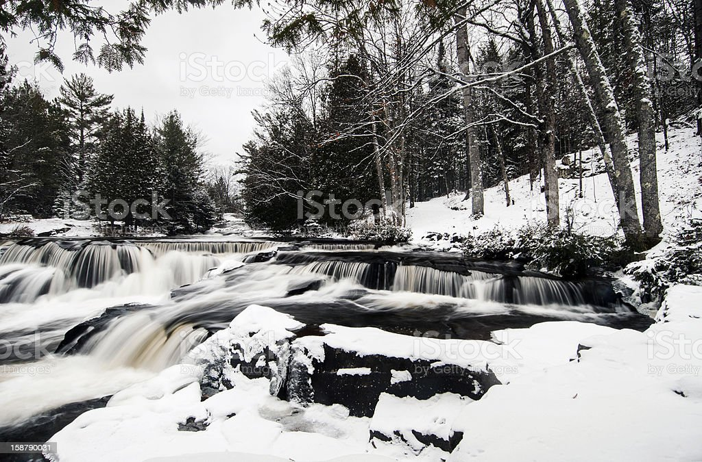 Small waterfalls in winter stock photo