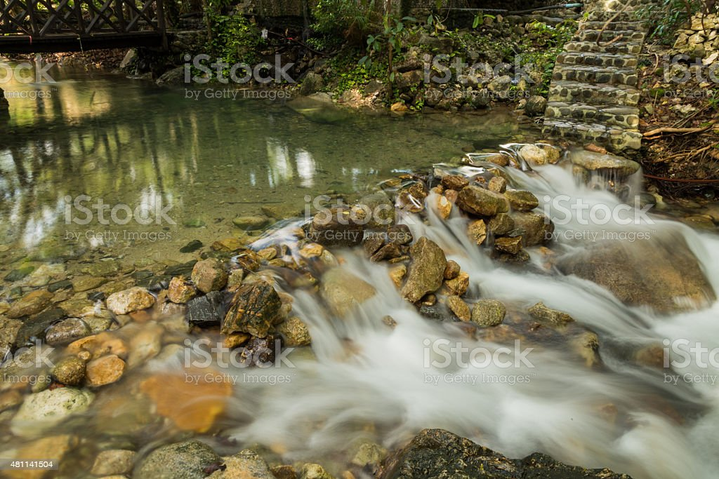 small weir in park stock photo