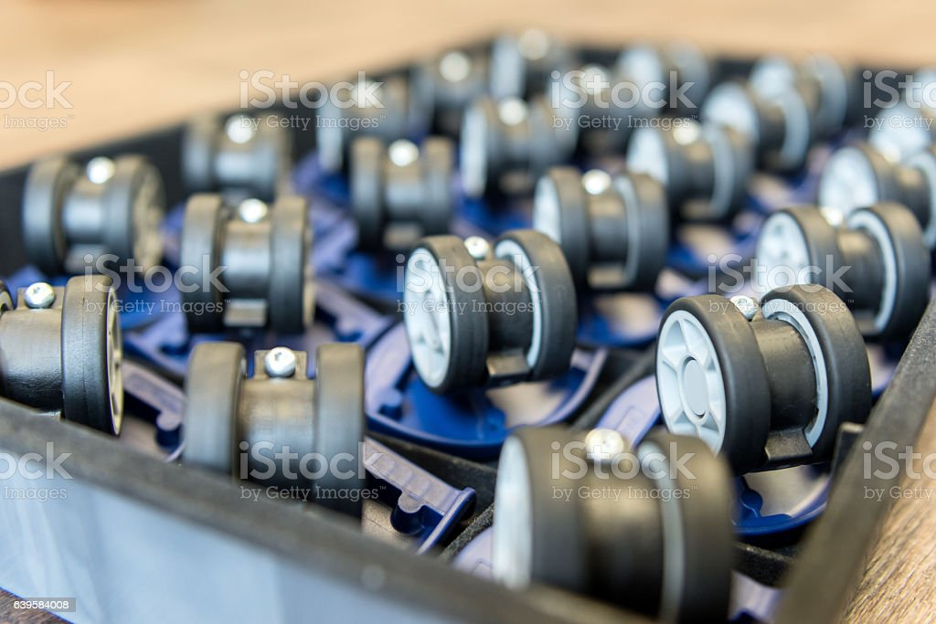 Small wheels for furniture/suitcases stock photo