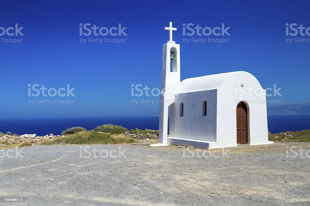 Small white church of Greece royalty-free stock photo