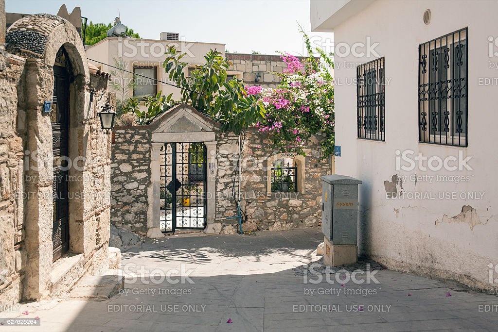 Small white house. The narrow streets of Bodrum. stock photo