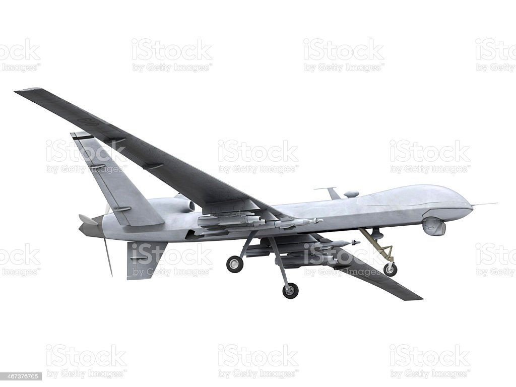 A small white military predator drone on a white background stock photo