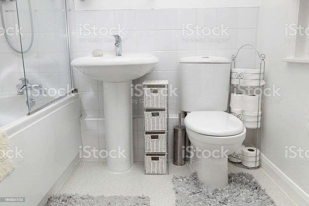 small white modern bathroom with tiles stock photo