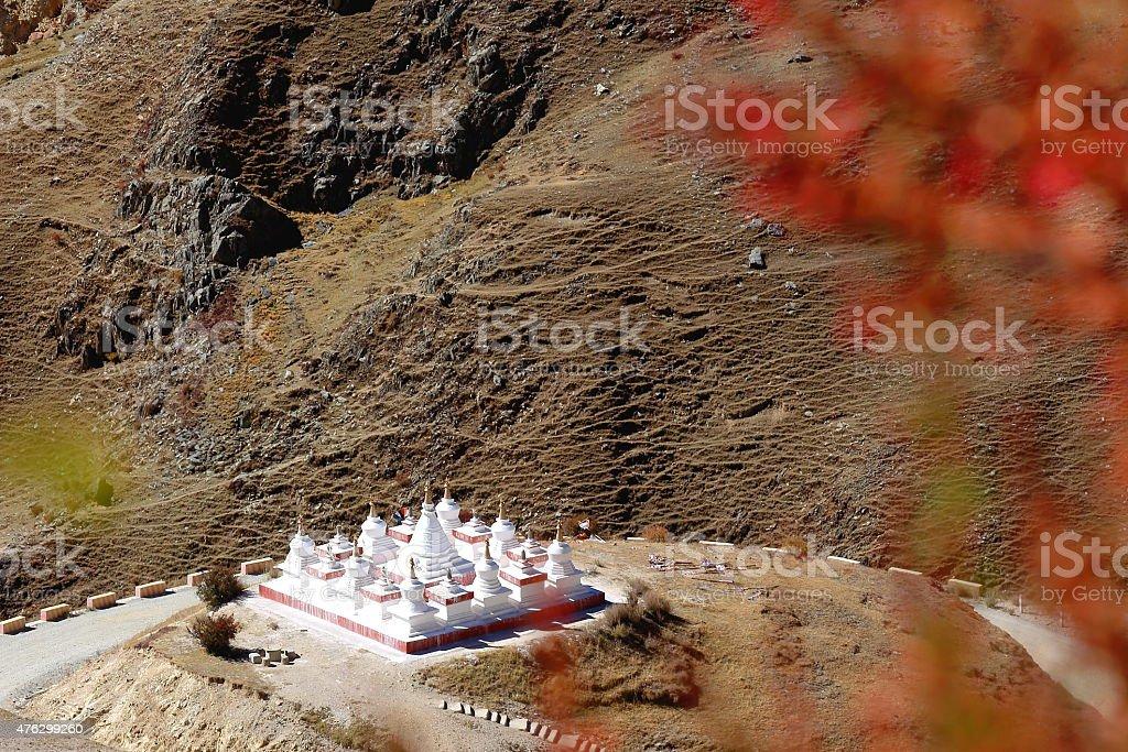 Small white stupas-Drak Yerpa monastery. Lhasa pref.-Tibet. 1494 stock photo