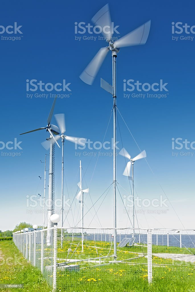 small wind turbines royalty-free stock photo