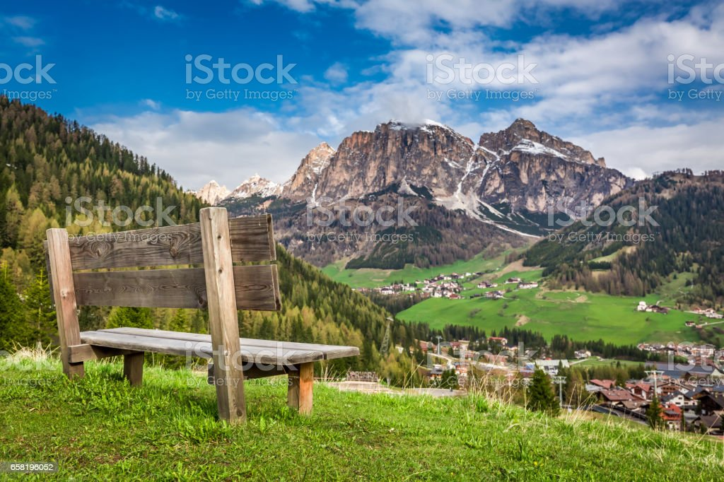 Small wooden bench in Dolomites, Alps, Italy, Europe stock photo