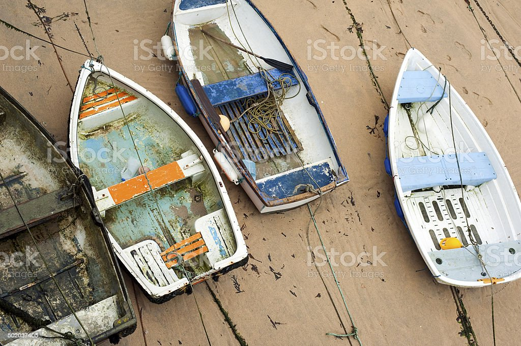 Small wooden boats in St Ives harbour royalty-free stock photo