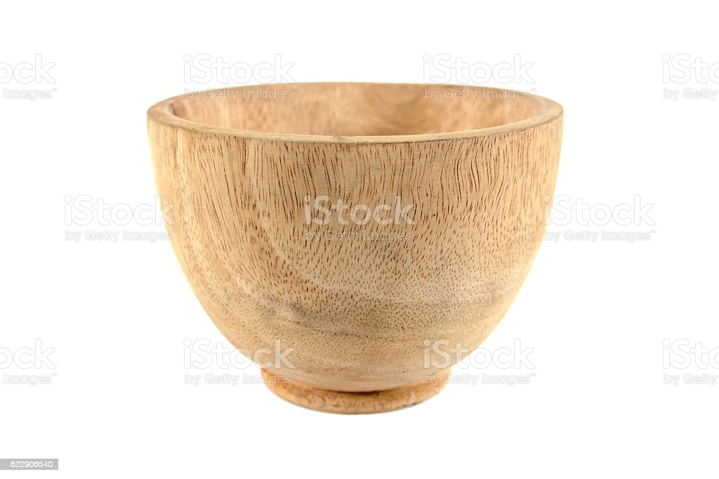 Small wooden bowl isolated on white background stock photo
