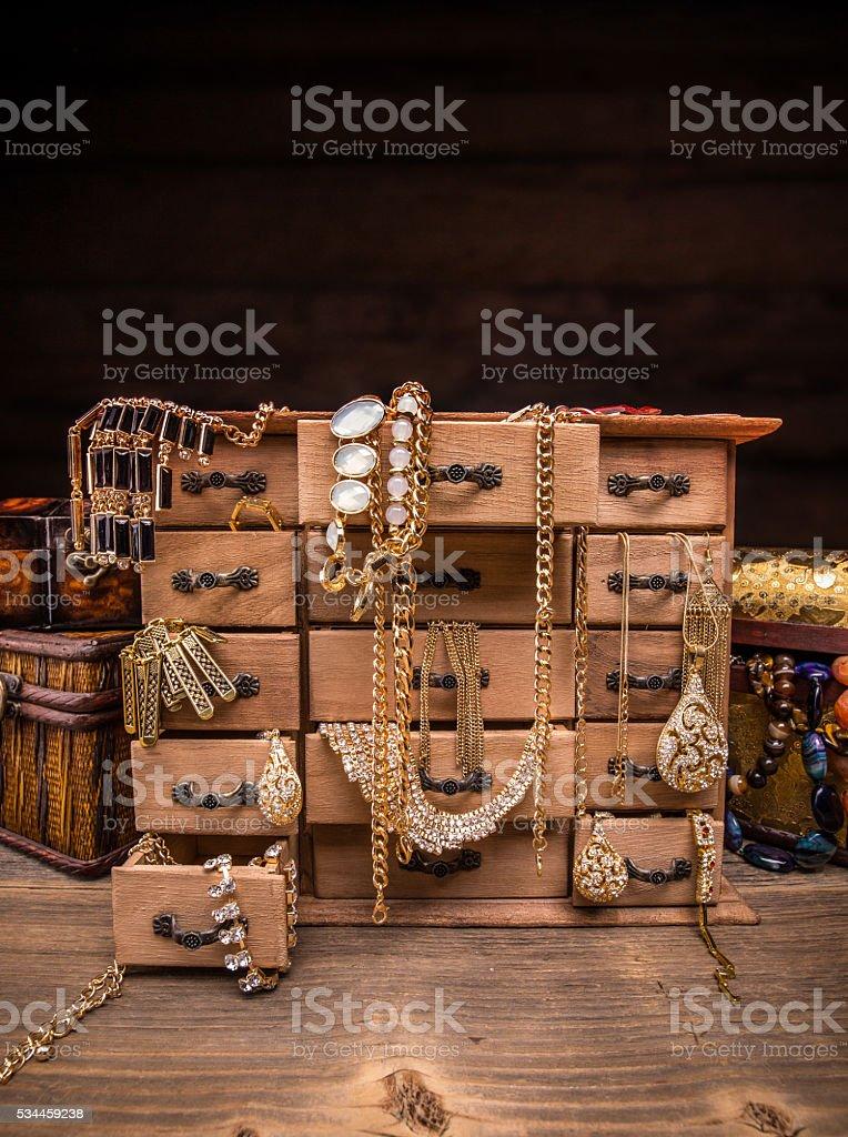 Small wooden box stock photo