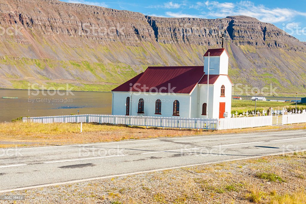 Small wooden church in Reykjanes - Iceland. stock photo