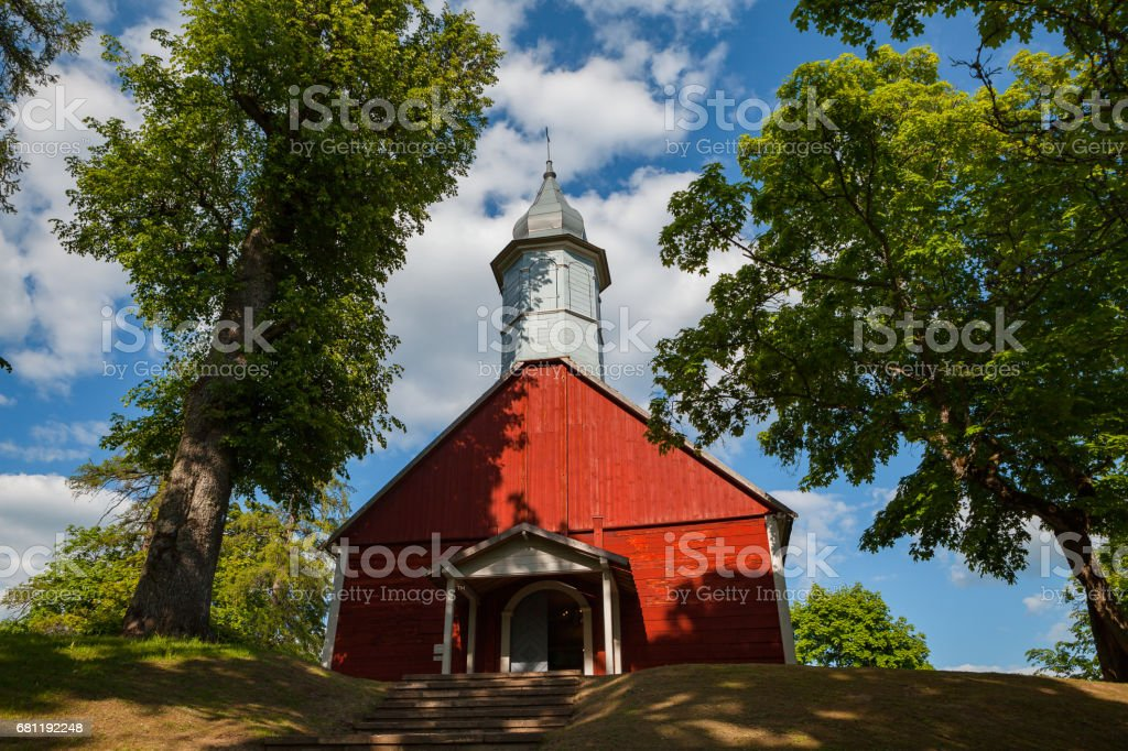 A small wooden church on the territory of Turaida reserve. Sigulda, Latvia stock photo