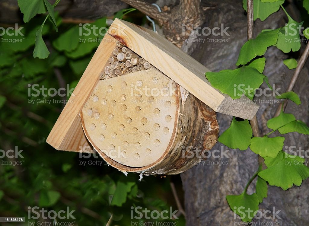 small wooden house for bees hanging in a garden stock photo