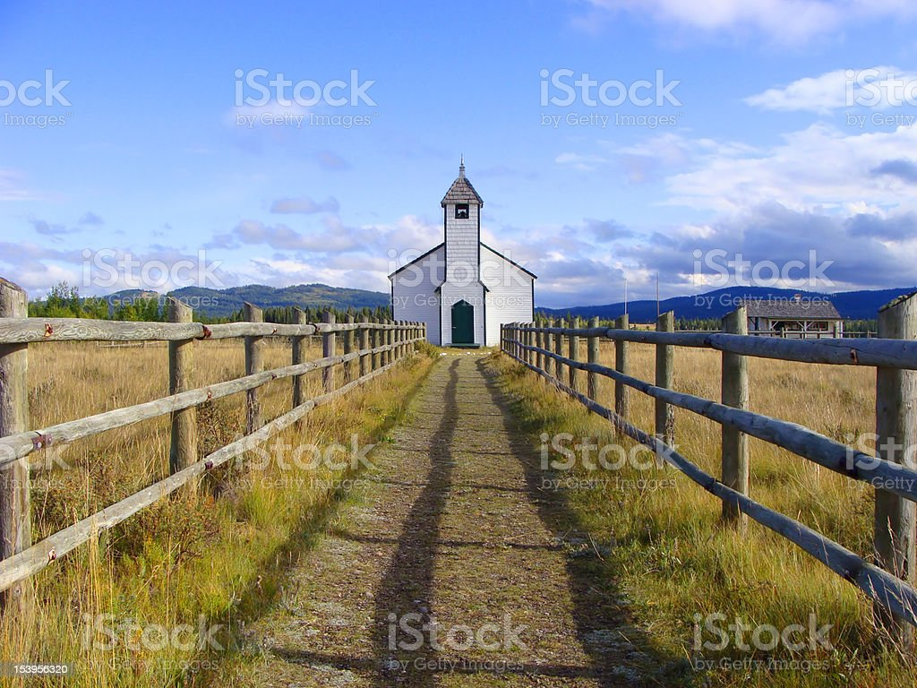 Small wooden rural church stock photo