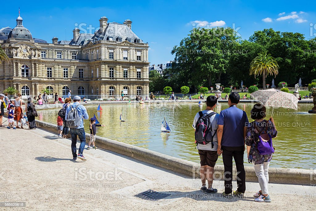 Small wooden sailing boats in the pond, Luxembourg Gardens, Paris stock photo