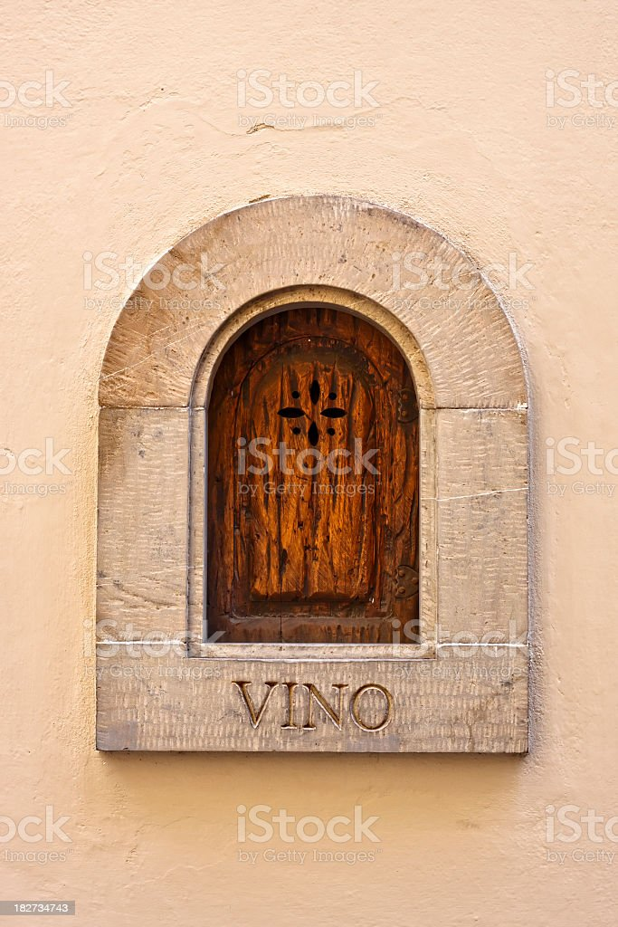 Small Wooden Window for Wine in Florence, Italy stock photo