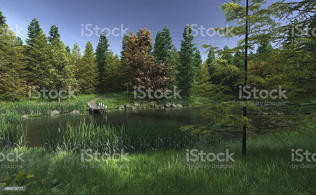 Small Woodland Lake with Jetty stock photo