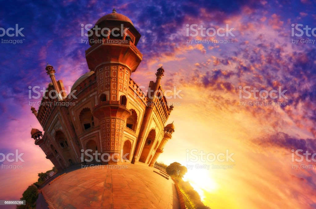 Small world photography of Mughal heritage monument Safdarjung Tomb, New Delhi at the sunset stock photo