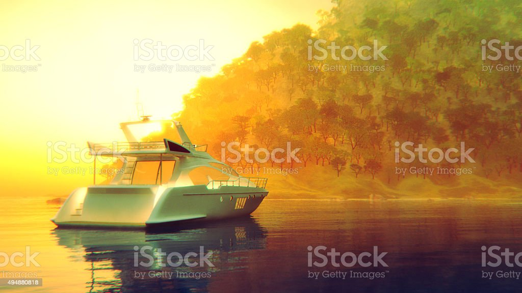 Small yacht on the lake stock photo