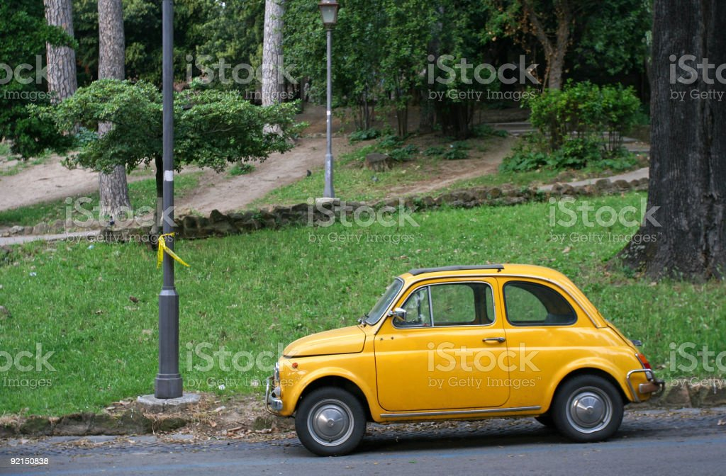 Small yellow car royalty-free stock photo