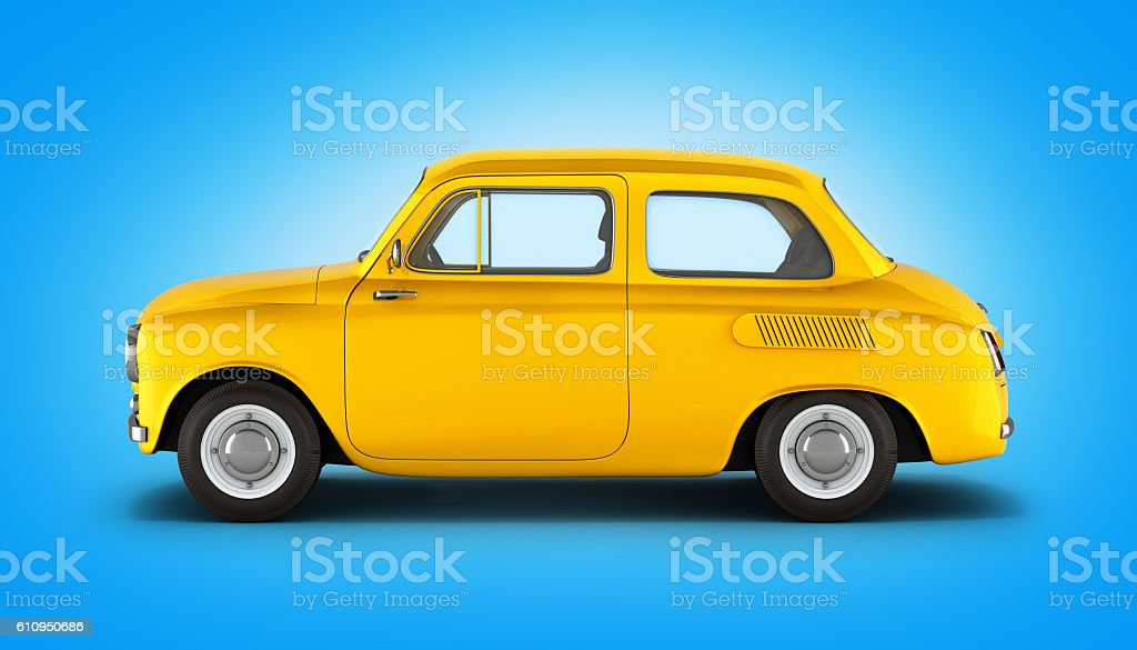 small yellow retro car on gradient background 3d stock photo