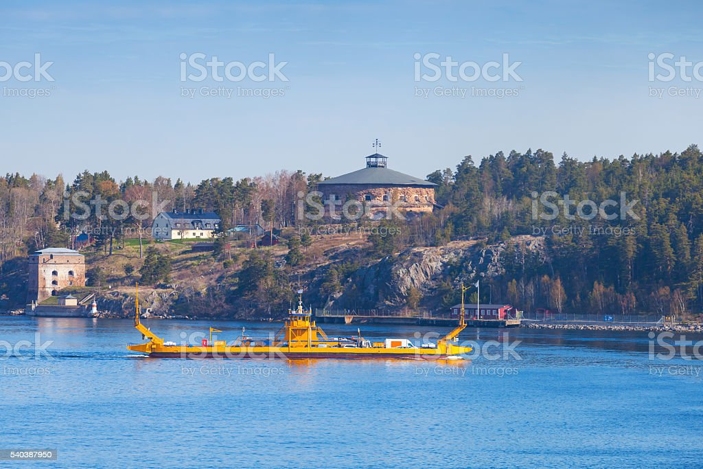 Small yellow Ro-Ro ferry in Sweden stock photo