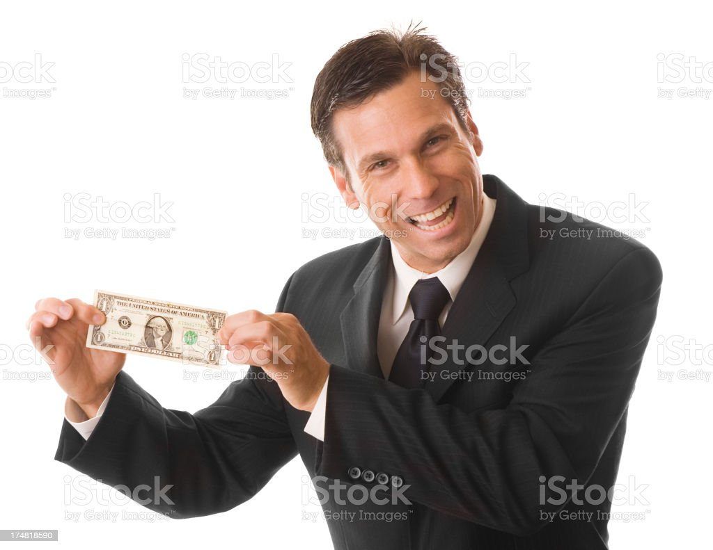 Smarmy Businessman Holding Dollar Bill Isolated on White Background royalty-free stock photo
