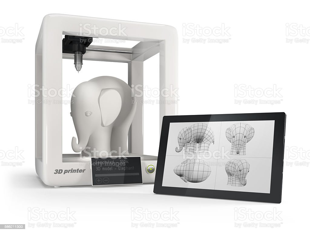smart 3d printer with tablet during production white plastic elephant stock photo