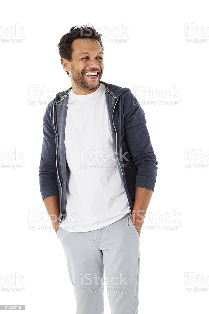Smart african male model looking away smiling stock photo