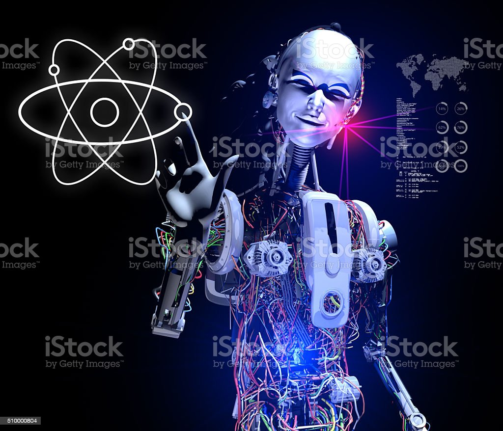 Smart Android Showing New Generation Fusion Energy stock photo