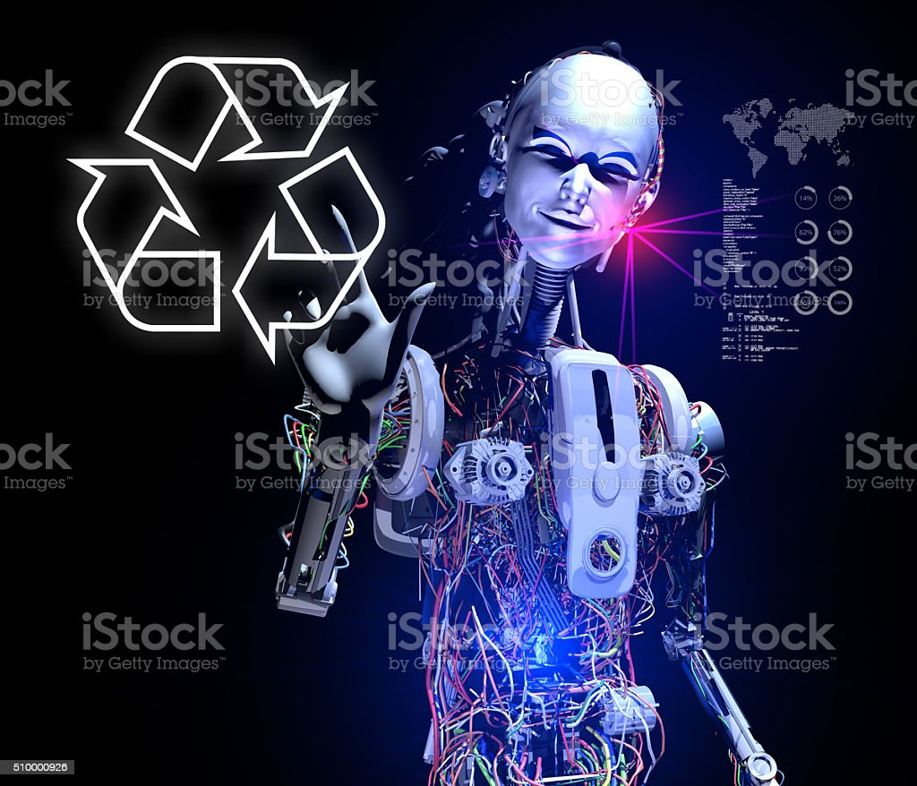 Smart Android Showing Recycle stock photo