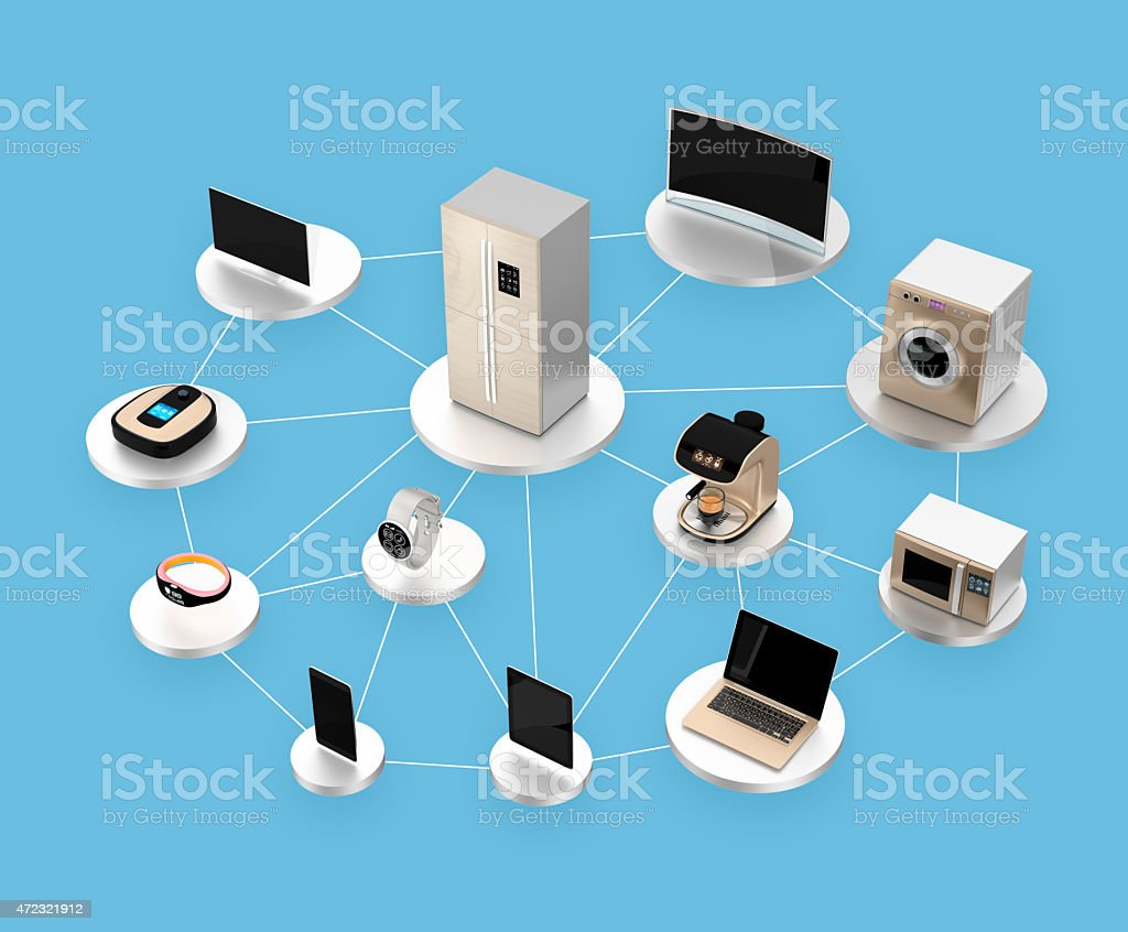Smart appliances in network. Concept for Internet of Things. stock photo