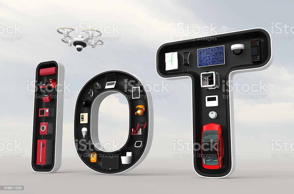 Smart appliances in word IoT stock photo