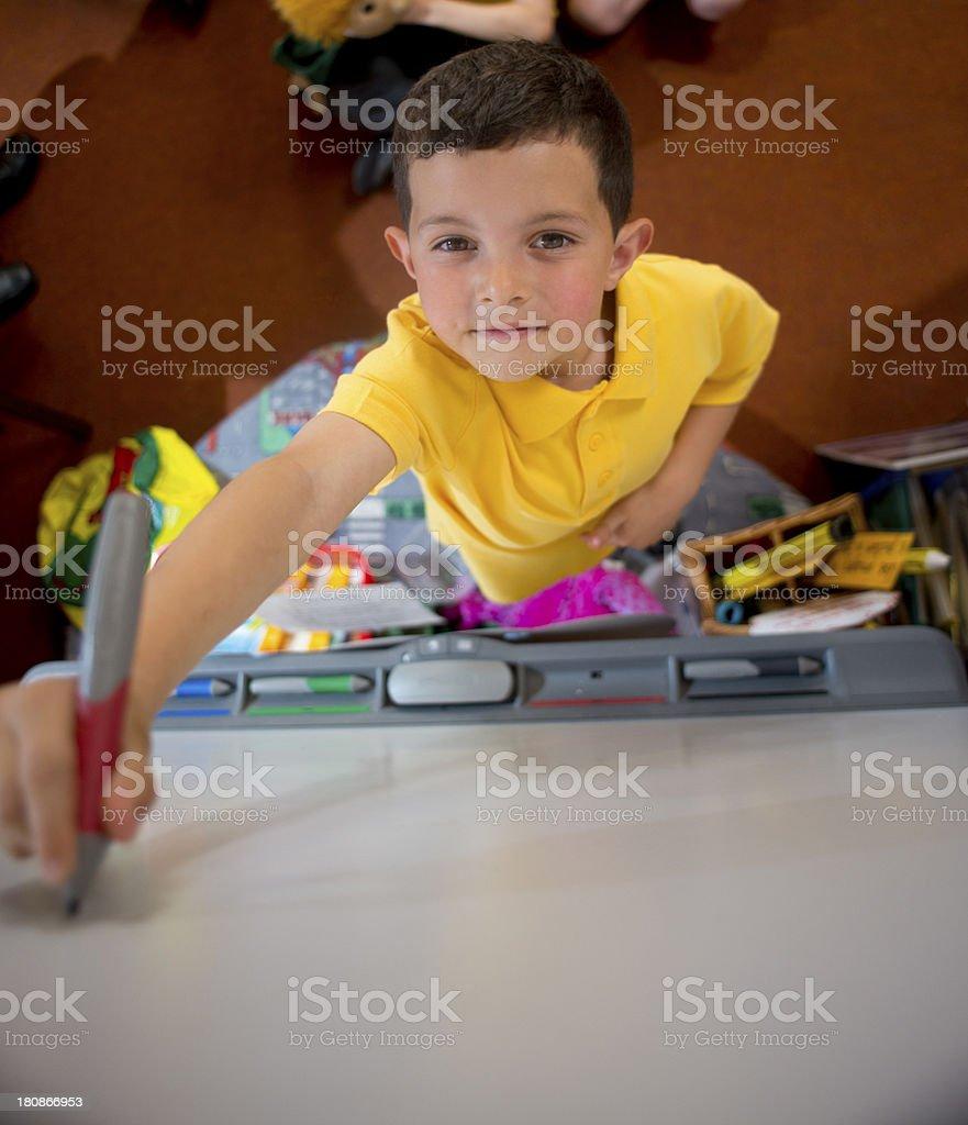 smart board boy royalty-free stock photo