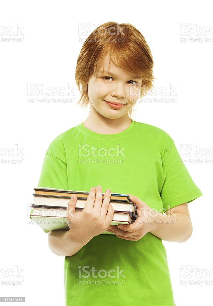 Smart boy with pile of books royalty-free stock photo