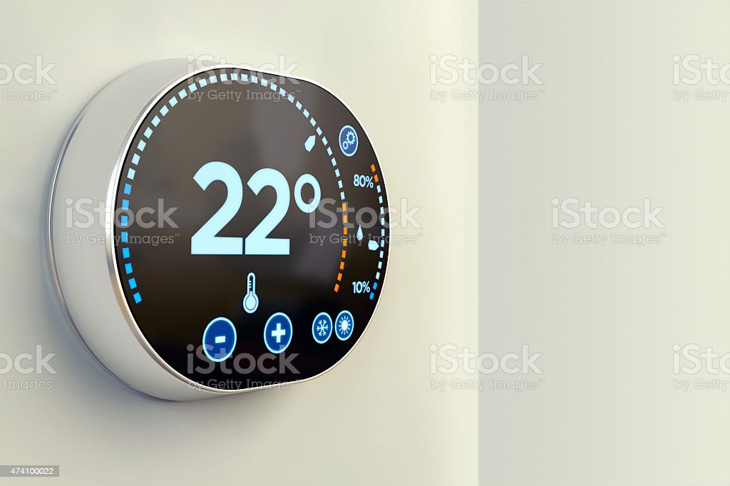 Smart building automation: indoor Celsius temperature thermostat stock photo