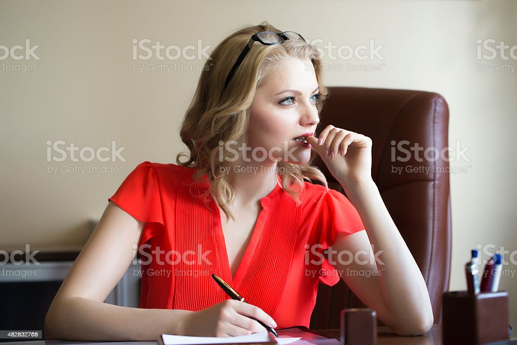 Smart business woman in chair stock photo