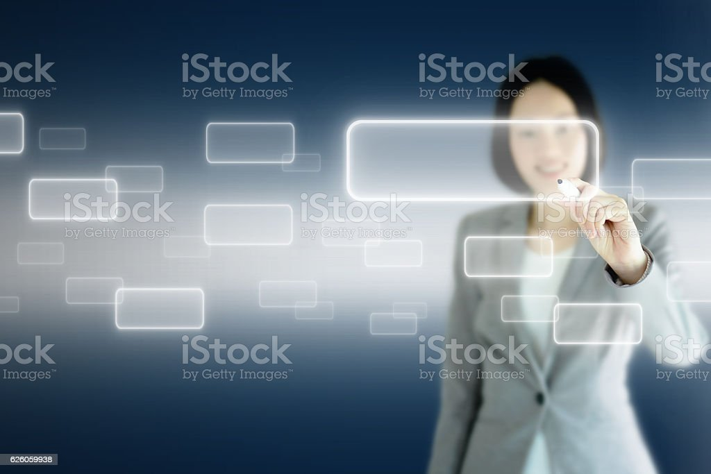 Smart business woman write on  screen stock photo