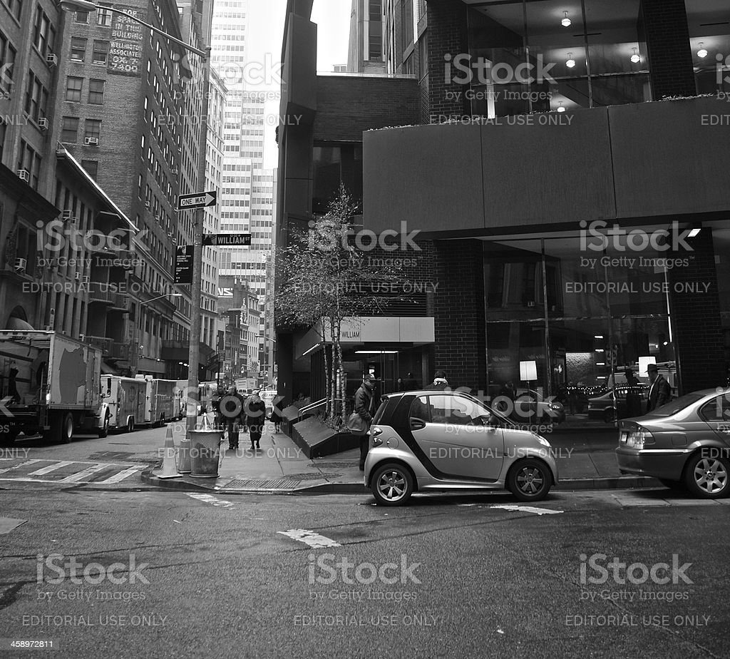 Smart car , Urban parking space scene, Lower Manhattan, NYC royalty-free stock photo