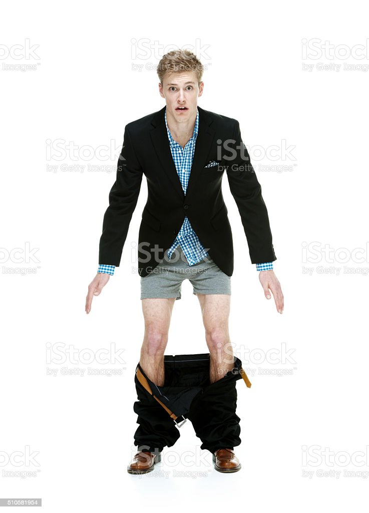 Smart casual caught with his pants down stock photo