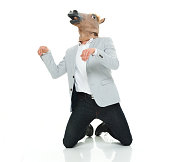 Smart casual man in horse costume