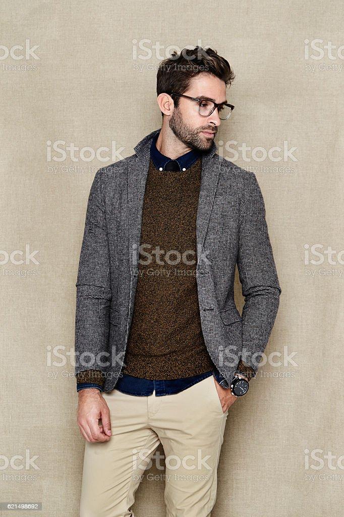 Smart casual man in studio stock photo