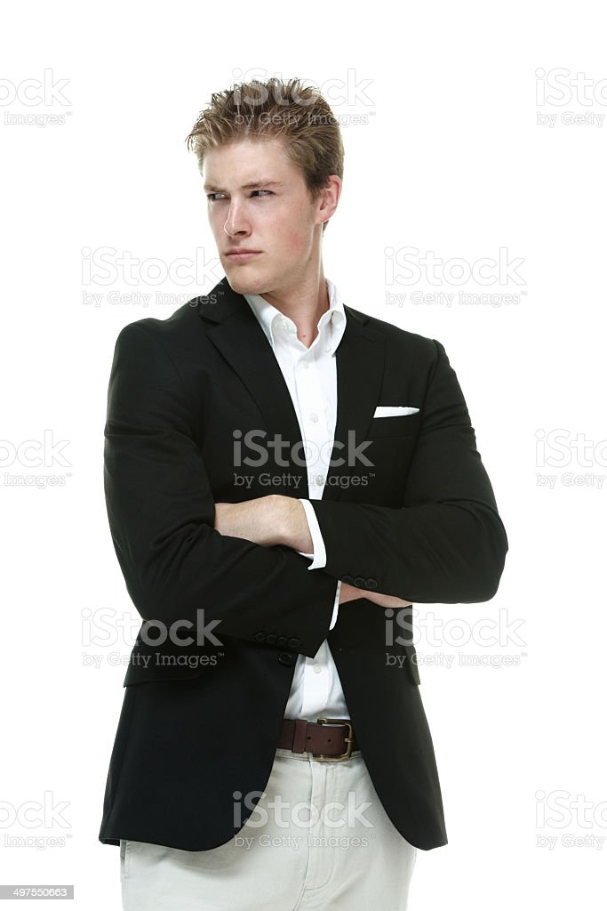 Smart casual man standing & looking away royalty-free stock photo