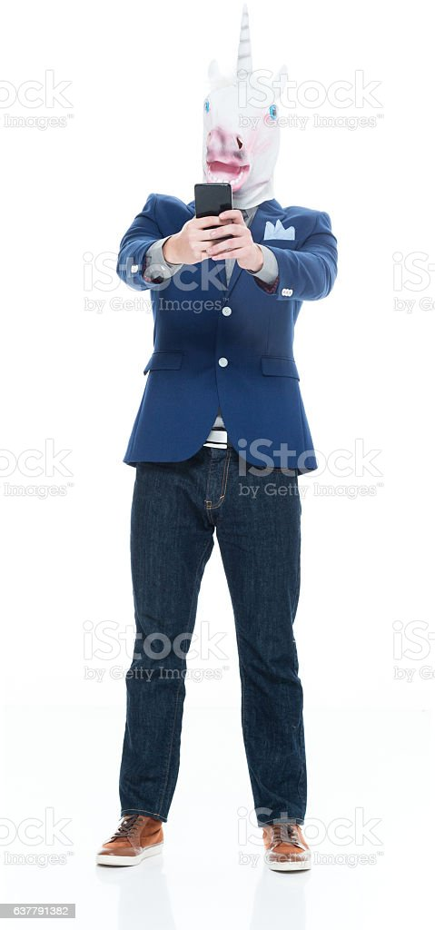 Smart casual man taking a selfie stock photo