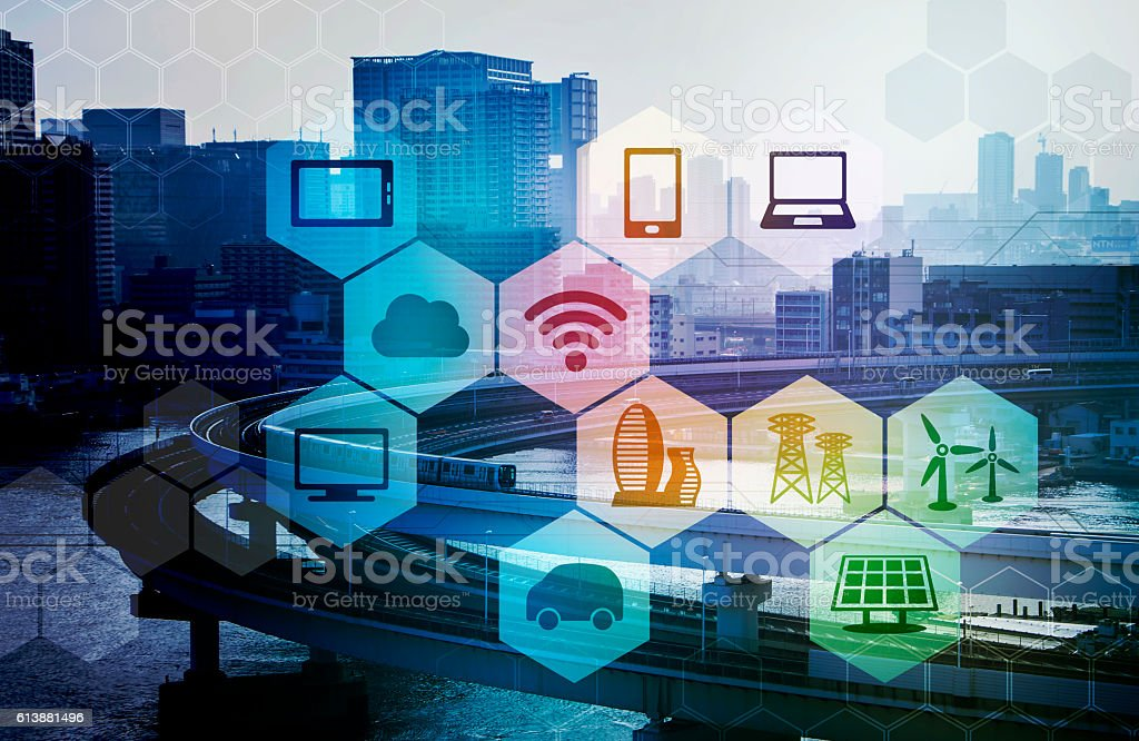 smart city and internet of things stock photo