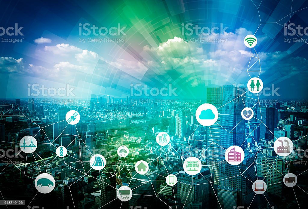 smart city and internet of things, various communication devices stock photo