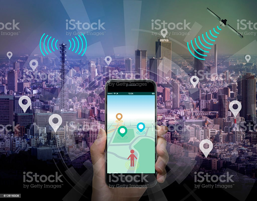 smart city and smart phone application using location information stock photo