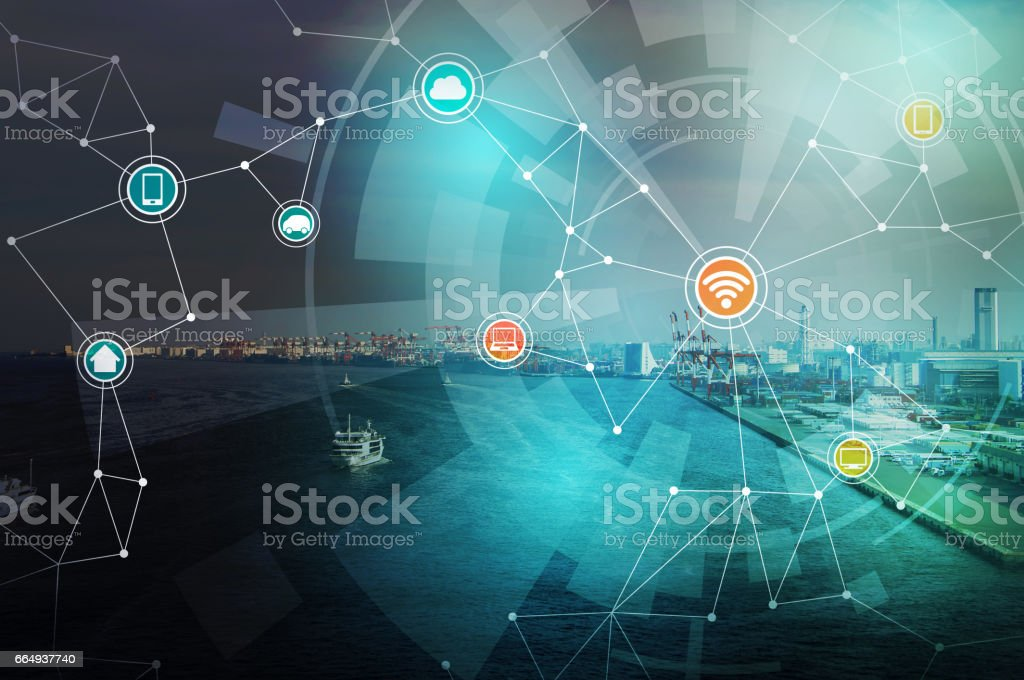 smart city and wireless communication network, abstract image visual, internet of things stock photo