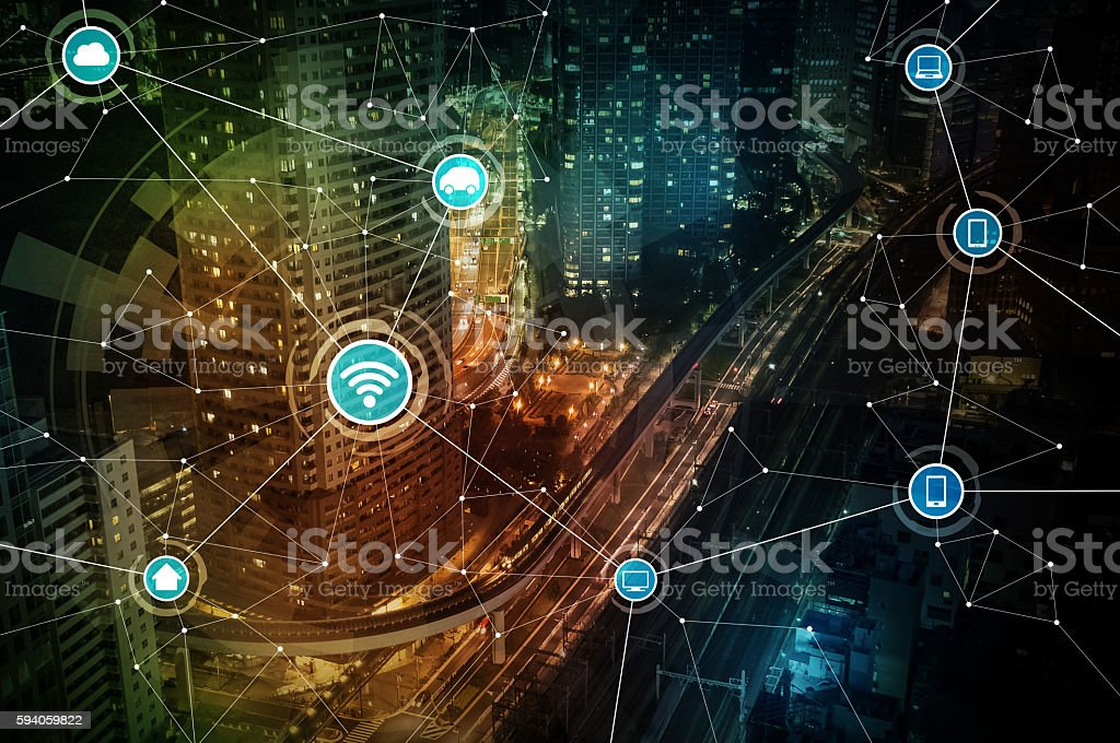 smart city and wireless communication network, abstract stock photo