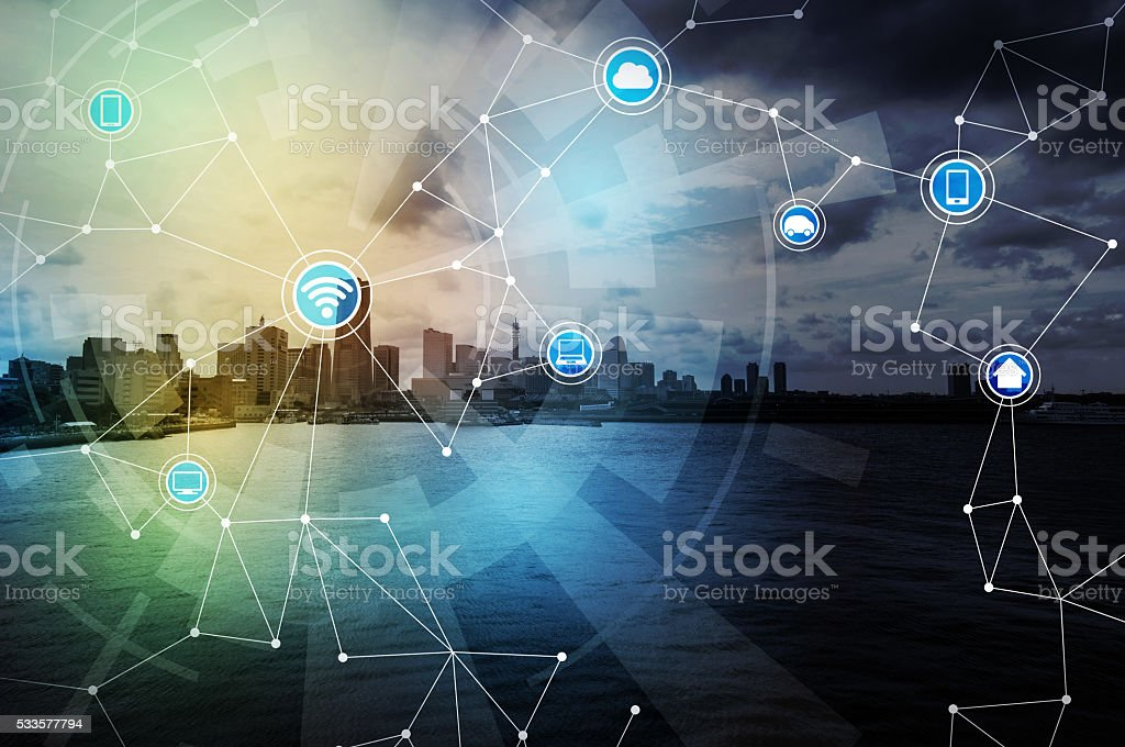 smart city and wireless communication network, internet of things stock photo