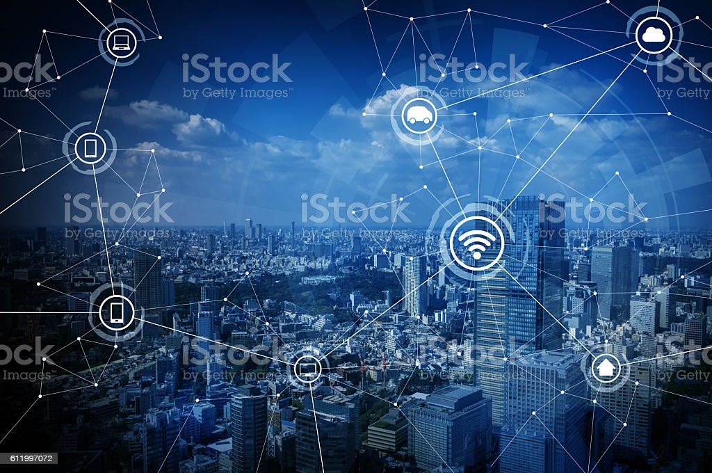 smart city and wireless communication network stock photo